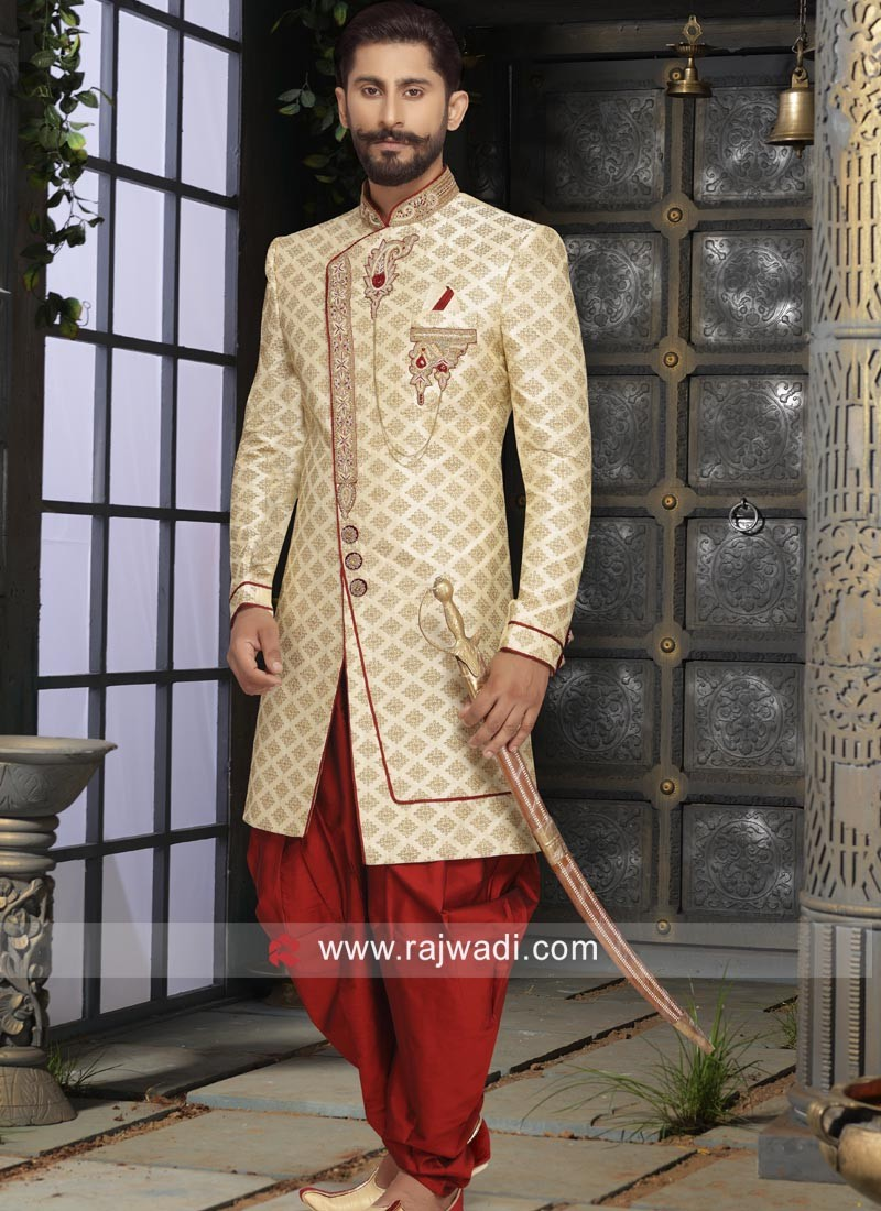 5ae7262ced Golden Color Sherwani in Brocade Silk Fabric. Hover to zoom