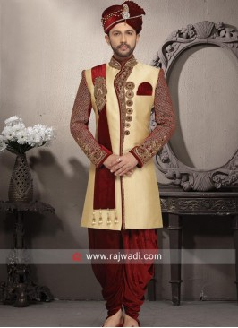Brocade Silk Fabric Sherwani With Patch Work
