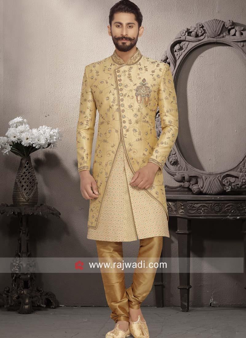 Art Silk Fabric Zardozi Work Indo Western