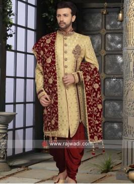 Brocade Silk Fabric Sherwani With Zardozi Patch