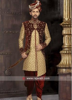 Designer Brocade Fabric Sherwani