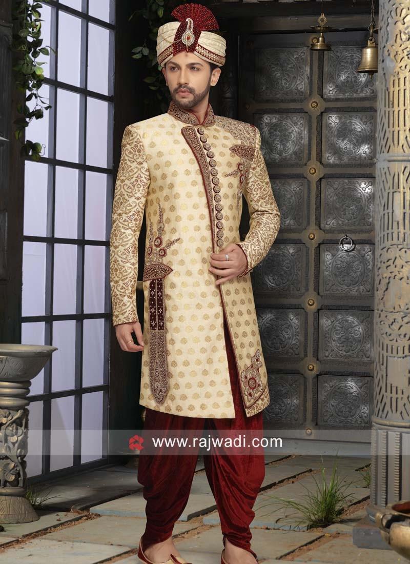 Brocade Fabric Golden Color Sherwani