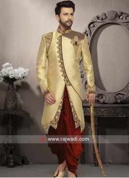 Stylish Golden Color Sherwani For Wedding