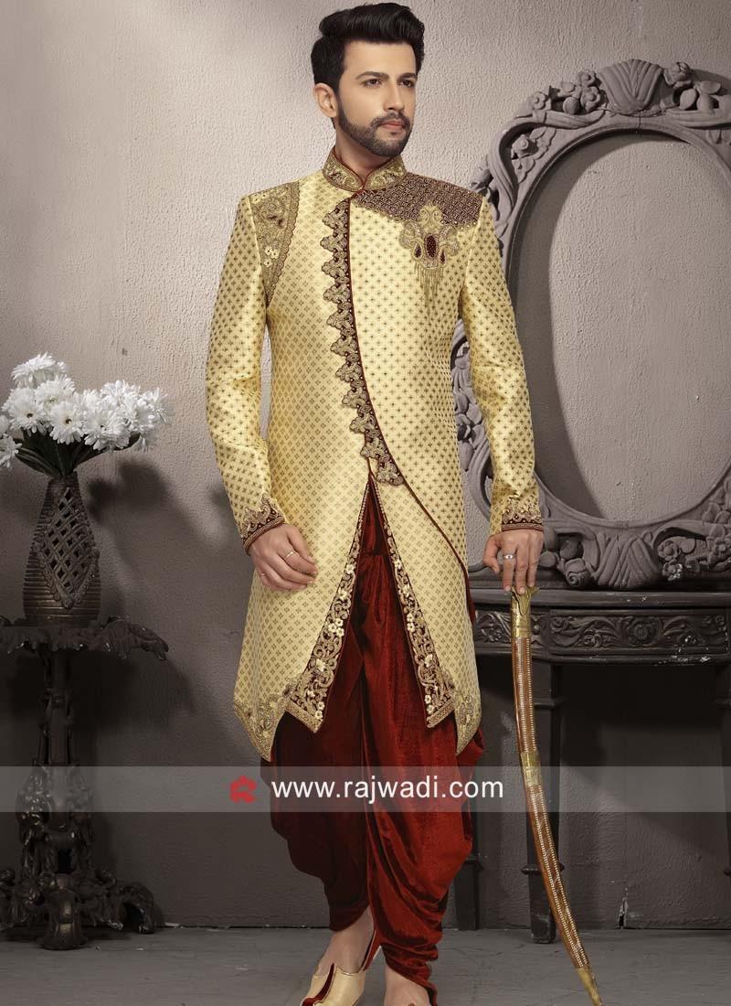 Stylish Golden Color Sherwani For Wedding
