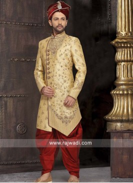 Stand Neck Golden Color Sherwani