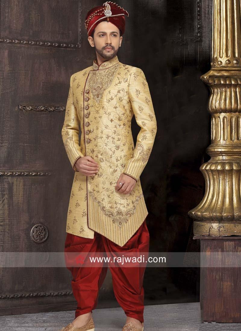 Stand Neck Golden Color Sherwani
