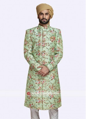 Pista Green Color Sherwani