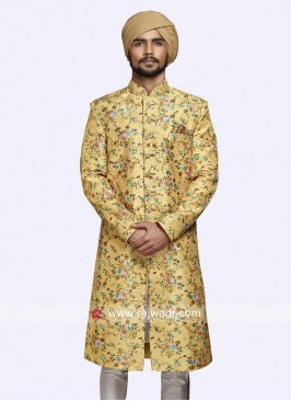Close Neck Golden Yellow Sherwani For Wedding