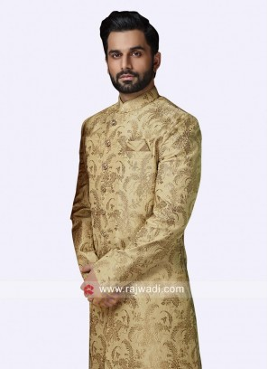 Golden Zari Work Sherwani