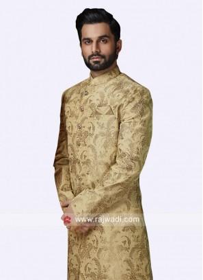 Golden Zari Work Sherwani