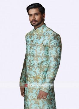 Dark Turquoise Color Silk Sherwani