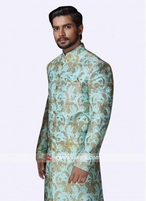 Dark Turquoise Color Silk Sherwani