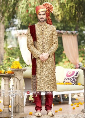 Golden Cream Color Sherwani