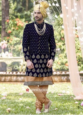 Groom Velvet Fabric Indo Western