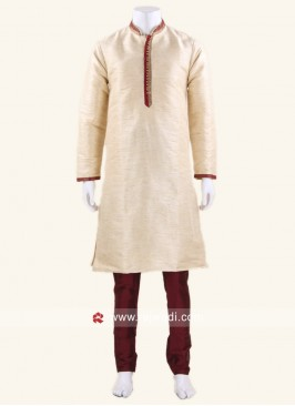 Art Silk Fabric Cream Color Kurta Pajama