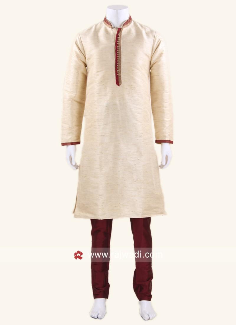 Art Silk Fabric Cream Color Kurta Pajama