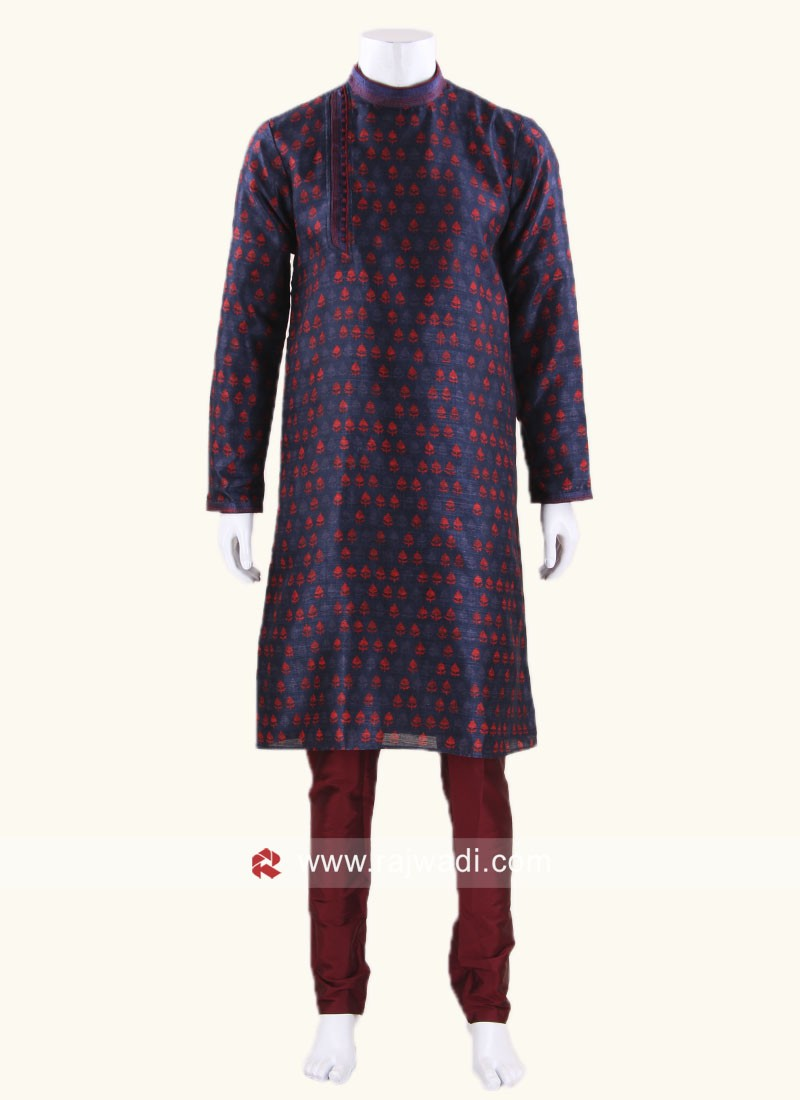 Blue Color Kurta Pajama With Stylish Buttons