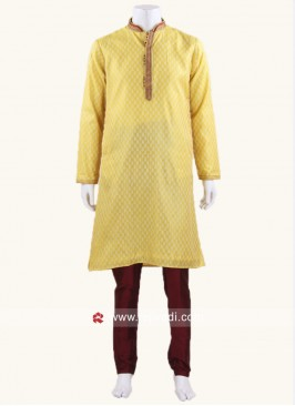 Brocade Fabric Kurta Pajama In Yellow
