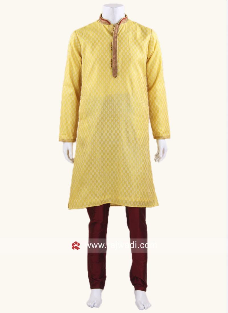 Brocade Fabric Kurta Pajama In Yellow