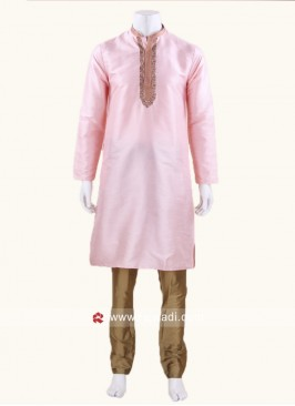 Zari Work Kurta Pajama In Pink