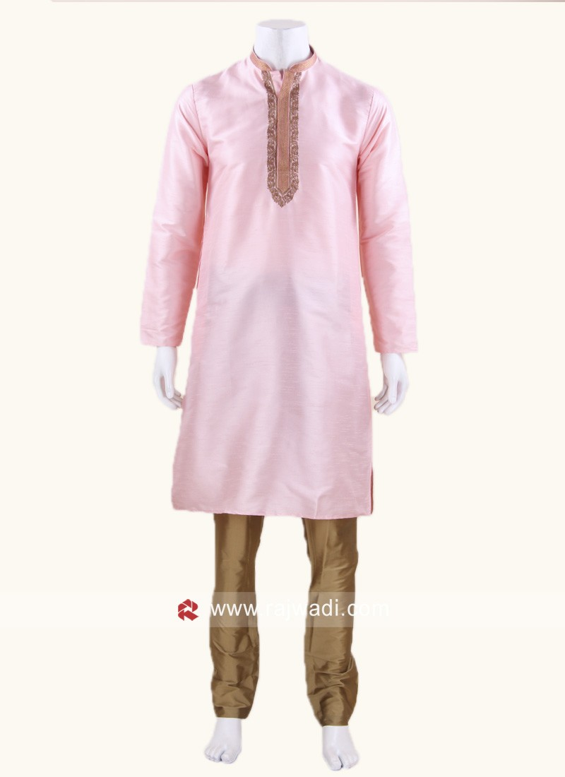 Zari Work Kurta Pajama In Pink