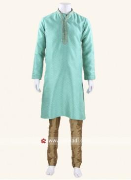Light Sea Green Color Kurta Pajama With Thread Work