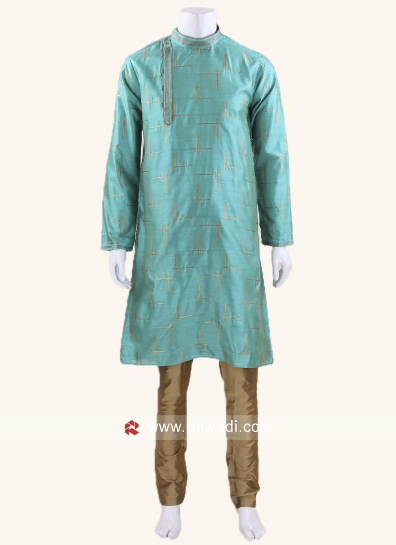 Traditional Dark Turquoise Color Kurta Pajama