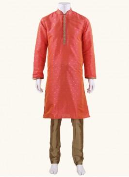 Orange Art Silk Fabric Kurta Set