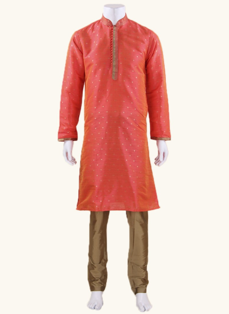 Orange Art Silk Fabric Kurta Set