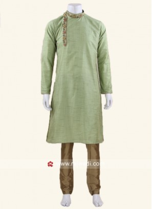 Light Pista Color Kurta Set