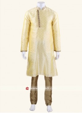 Stylish Long Sleeve Pineapple Yellow Kurta Set