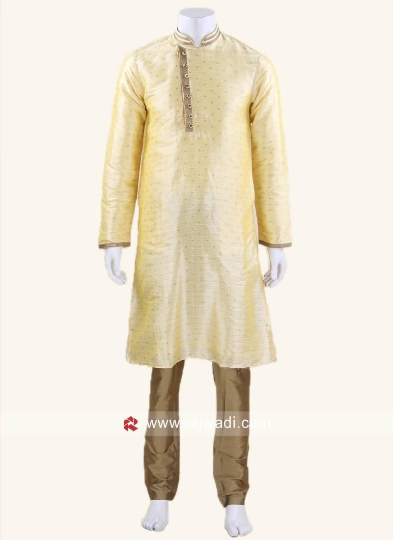 Stylish Long Sleeve Pineapple Yellow Kurta Set