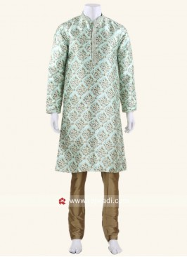 Art Silk Fabric Medium Aquamarine Color Kurta Set
