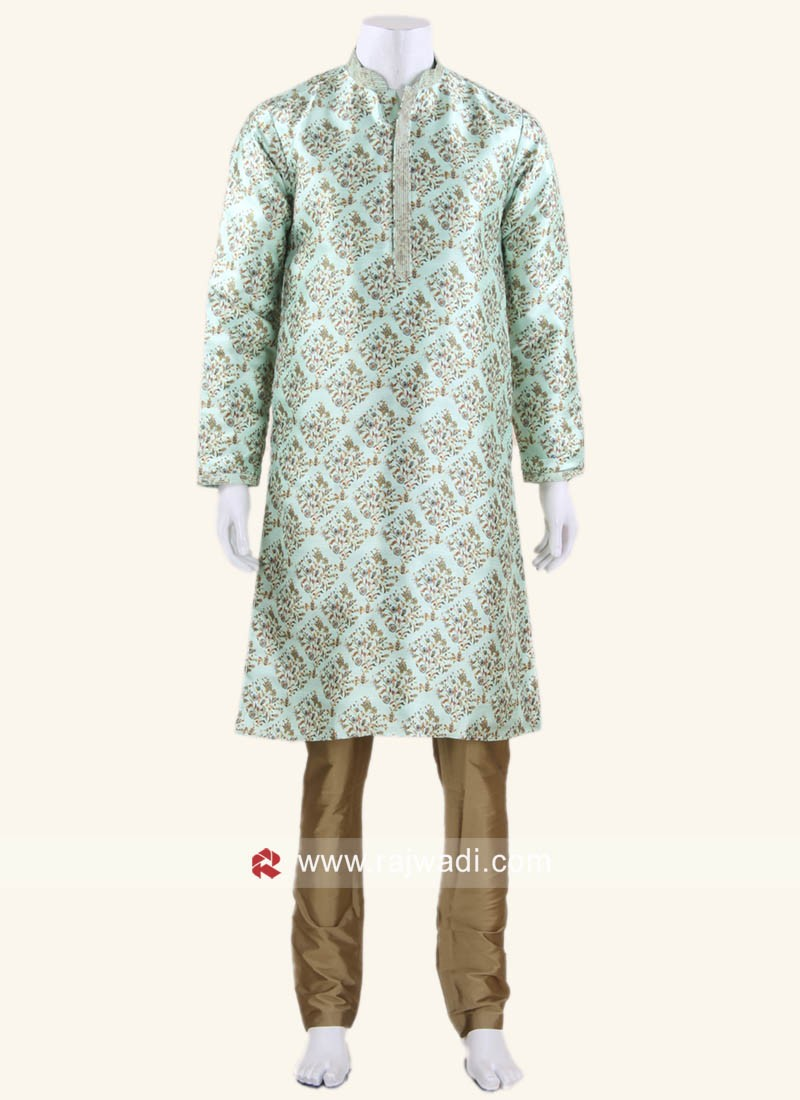 Art Silk Fabric Medium Aquamarine Color Kurta Set