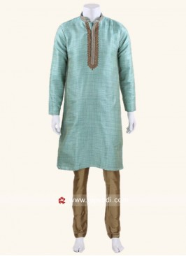 Light Teal Color Brocade Silk Kurta Set