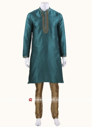 Peacock Blue Color Kurta With Golden bottom