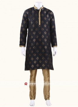 Long Sleeve Black Color kurta Set