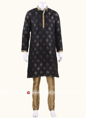 Long Sleeve Black Color kurta Set