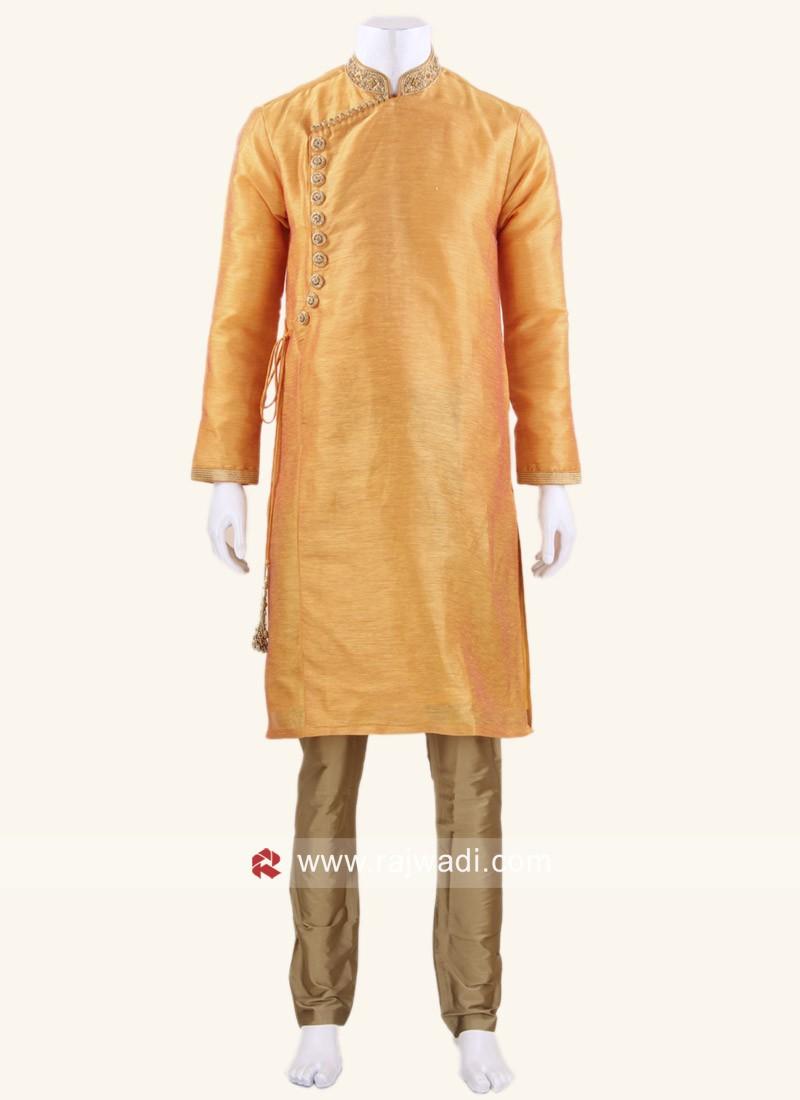 Round Neck Kurta Set In Orange Color
