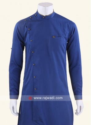Royal Blue Color Kurta With Side Buttons