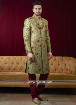 Pista Green Long Sleeves Sherwani