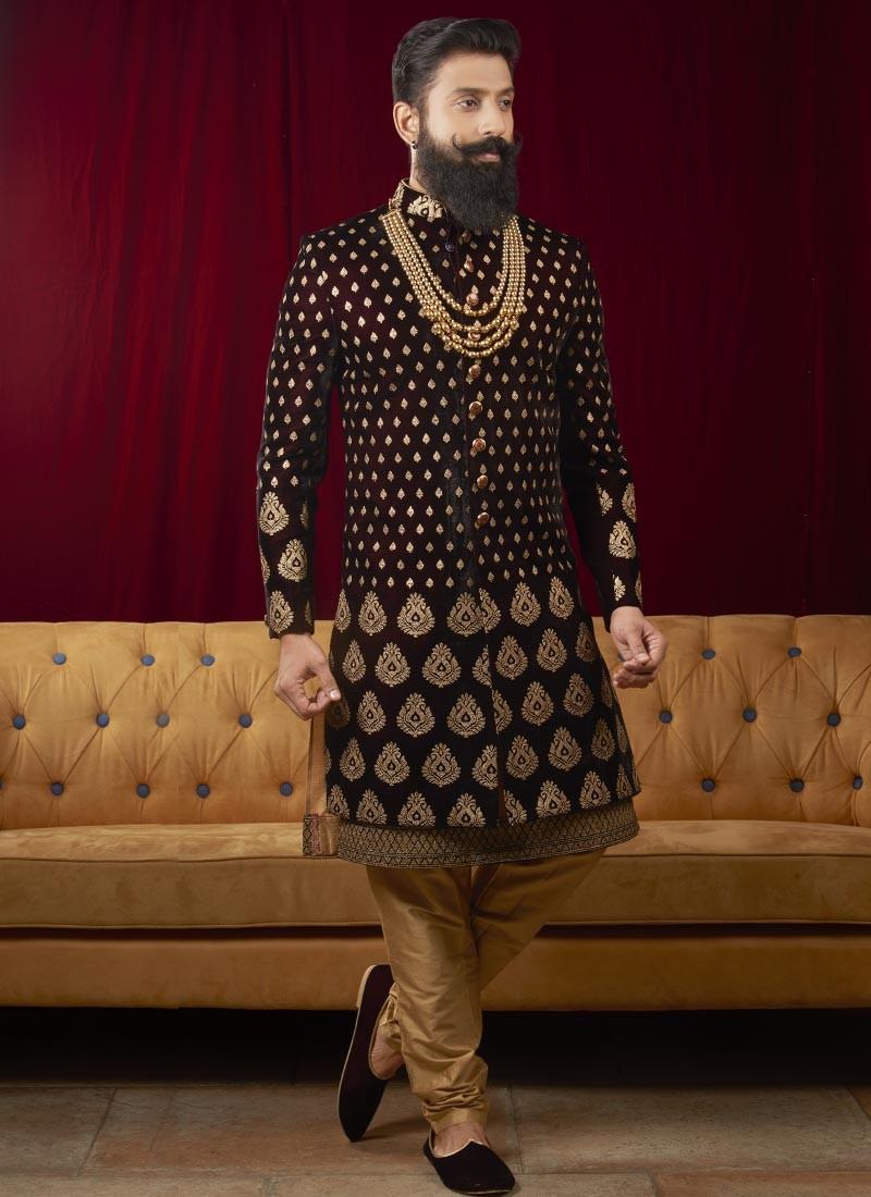 Groom Velvet Fabric Indo Western