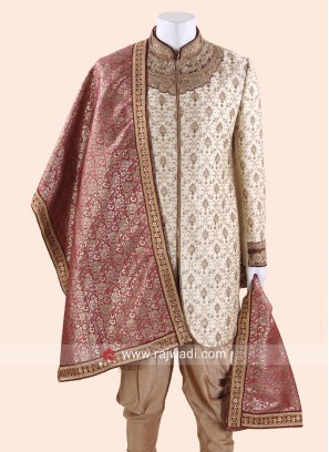 Crimson Color Mens Dupatta