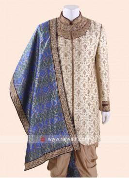 Royal Blue Brocade Silk Dupatta