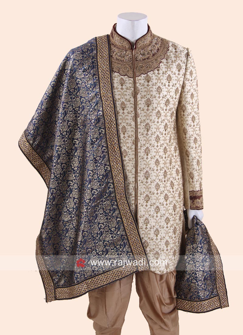 Brocade Silk Fabric Blue Color Dupatta