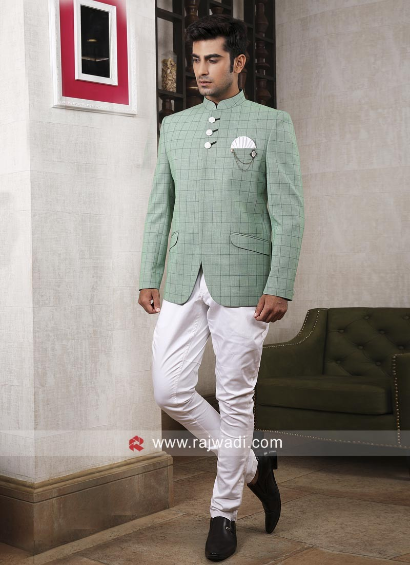 Royal Wedding Pista Green Jodhpuri Suit