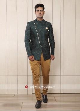 Designer Bottle Green Jodhpuri Suit