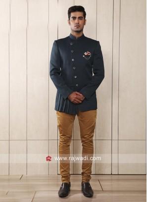 Designer Steel Blue Jodhpuri Suit