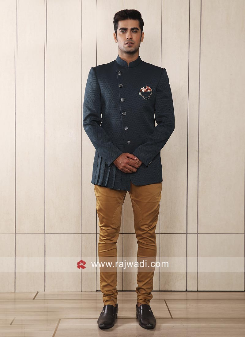 Designer Steel Blue Jodhpuri Suit