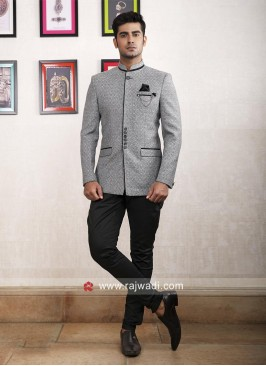 Charming Grey Color Jodhpuri Suit